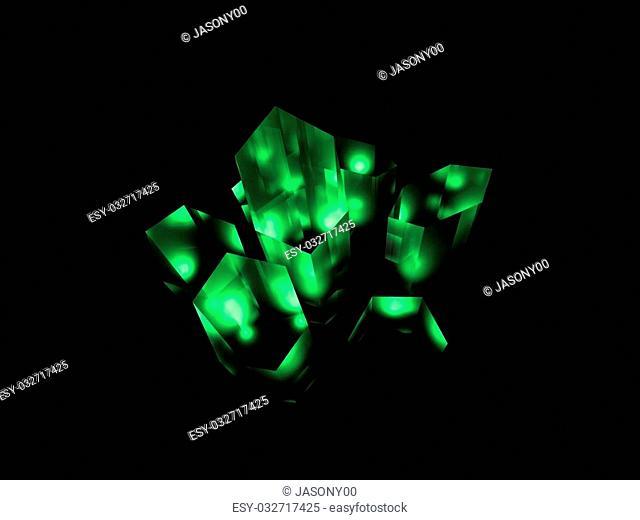 Illustration of a green crystal or kryptonite substance