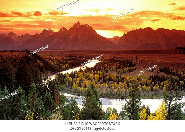 Clearing storm over the Grand Tetons at sunset from the Snake River overlook, Grand Teton National Park, Wyoming USA