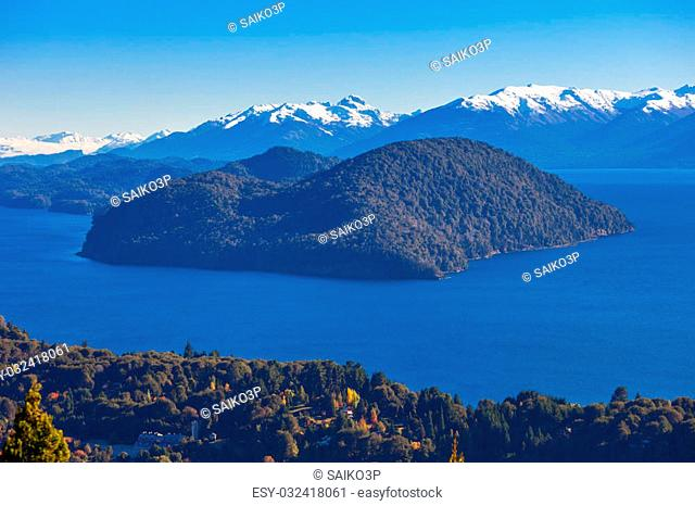 Nahuel Huapi National Park aerial view from the Cerro Campanario viewpoint in Bariloche, Patagonia region in Argentina