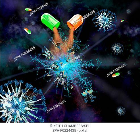Medication used to combat virus, illustration