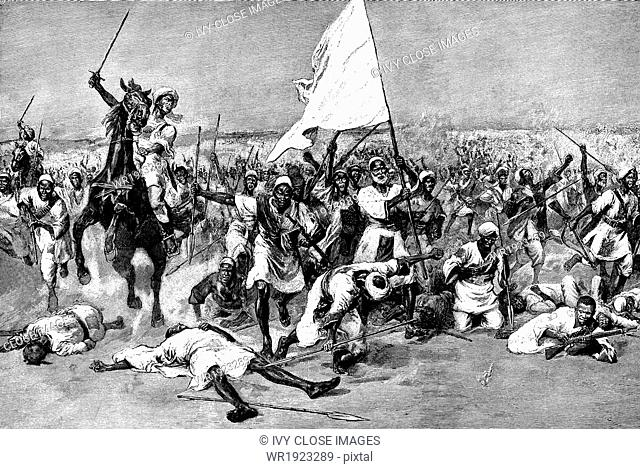 This 1906 illustration captures the moment when the Dervish troops under Abdullah al-Taashi made their last stand at the battle of Omdurman on September 2, 1898