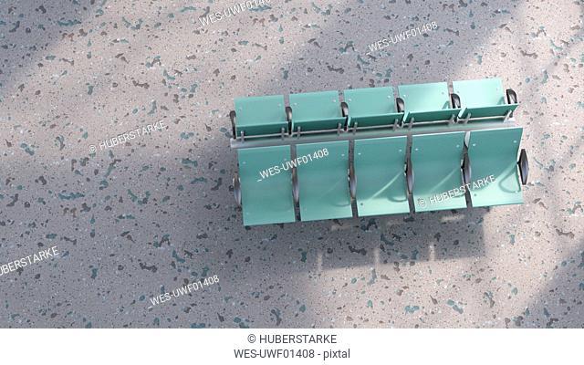 3D rendering, Green row of seats on structured floor
