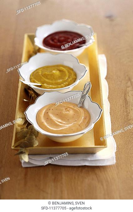 Three different sauces