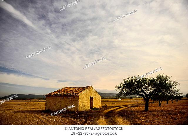 Stone house, Almansa, Albacete province, Castilla-La Mancha, Spain