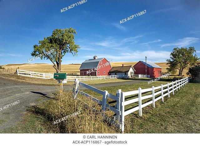 White fence around farm, Colfax, Washington, USA