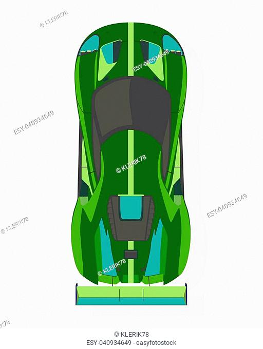 Green sport car, top view in flat style isolated on a white background
