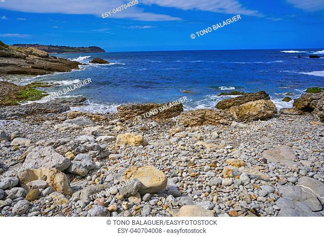 Antromero beach of Cristales with glass stones in Asturias of Spain