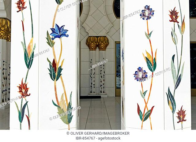 Pillars with inlaid flower motifs, Sheikh Zayed bin Sultan Al Nahjan Mosque, Grand Mosque, third biggest mosque in the world, Emirat Abu Dhabi