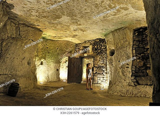young girl visiting cellars digged into the ''Tuffeau'' at La Devinière in Seuilly near Chinon, the estate that is claimed to be the writer's birthplace and...