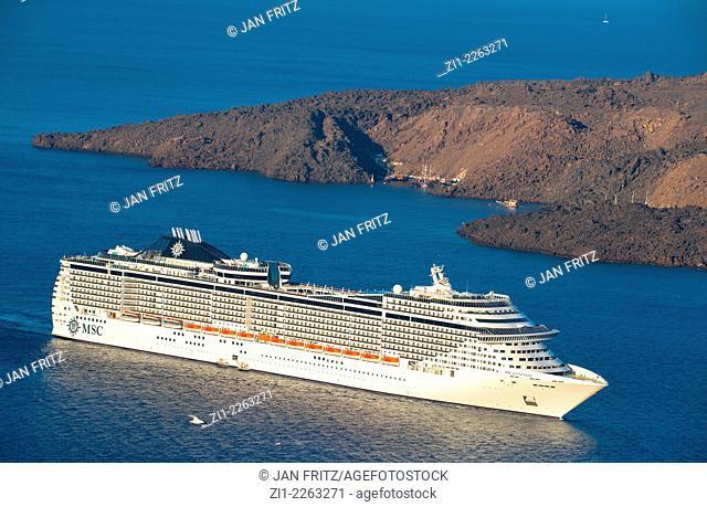 passenger ship seen from Santorini island in Greece