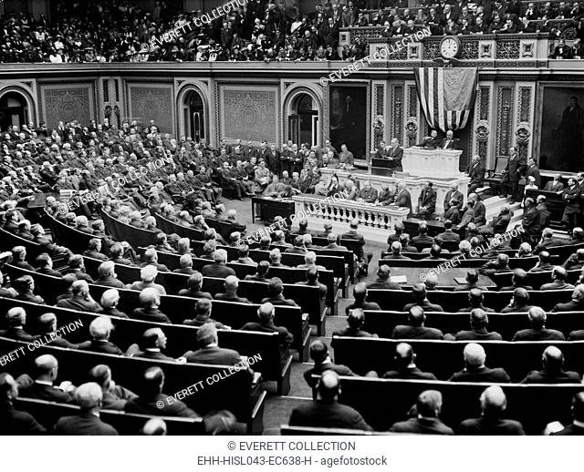 President Woodrow Wilson delivering his opening message to the 63rd Congress, April 8, 1913. He spoke about tariff reform program