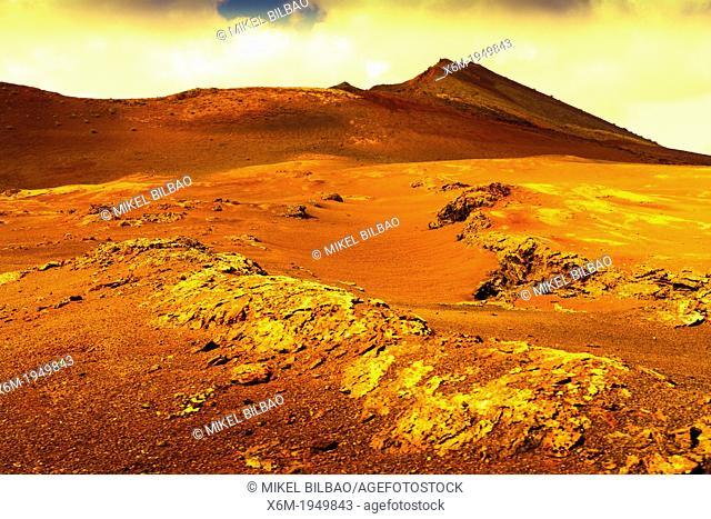 Volcanic landscape. Timanfaya National Park. Lanzarote, Canary Islands, Atlantic Ocean, Spain