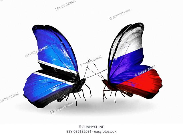 Two butterflies with flags on wings as symbol of relations Botswana and Russia