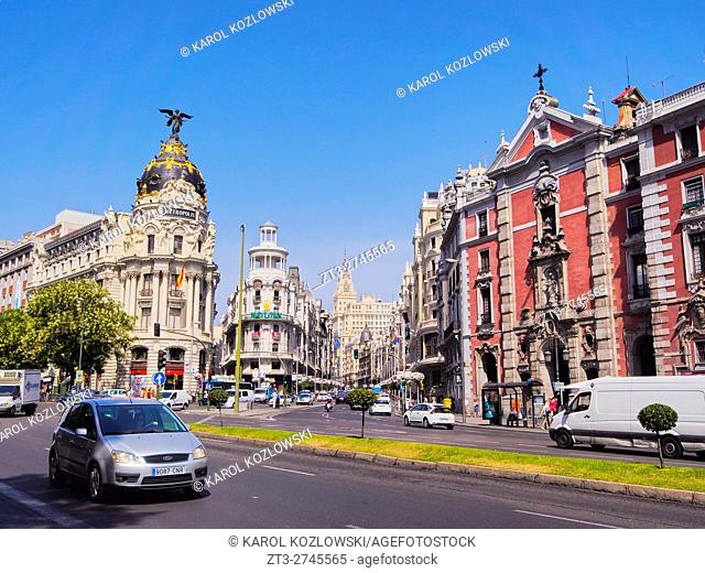 Spain, Madrid, View of the Metropolis Building.