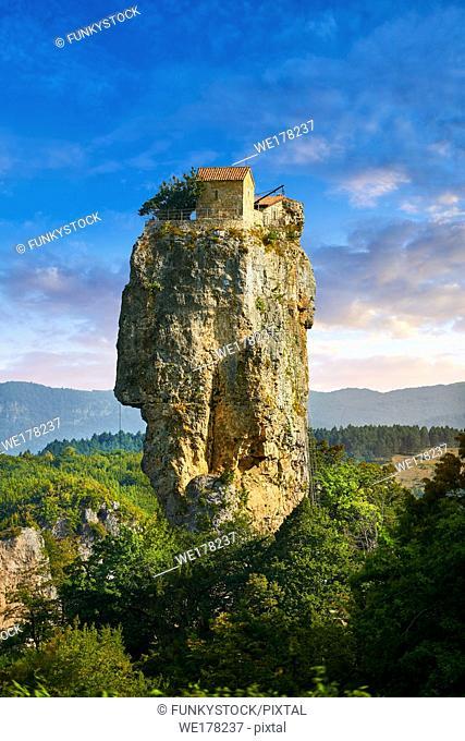 Picture & image of Katskhi Pillar Georgian Orthodox church on a 40 m (130 ft) natural limestone rock pillar near Chiatura, Imereti Region, Georgia (country)
