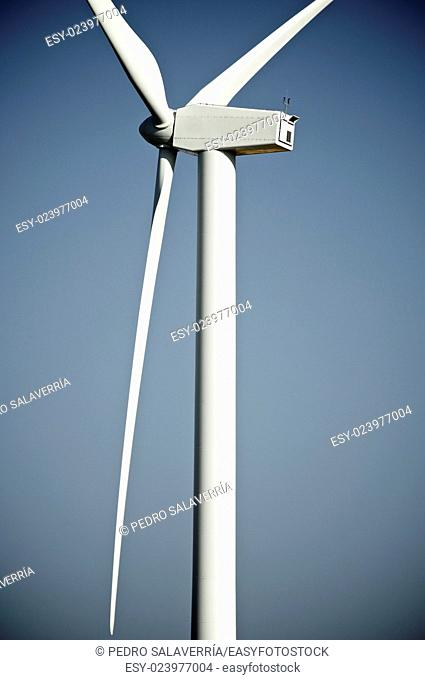 windturbine for electric energy production with blue sky, Teruel province, Aragon, Spain