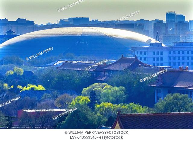 Hazy Big Silver Egg Concert Hall Close Up Beijing China Forbidden City in Foreground. . .