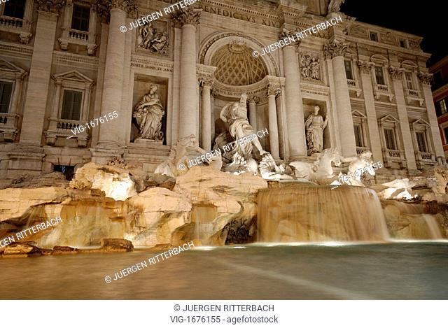 ITALY, ROME, 23.11.2008, illuminated Trevi Fountain at night, Rome, Italy, Europe - ROME, ITALY, 23/11/2008