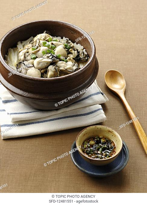 Oysters on rice (Korea)
