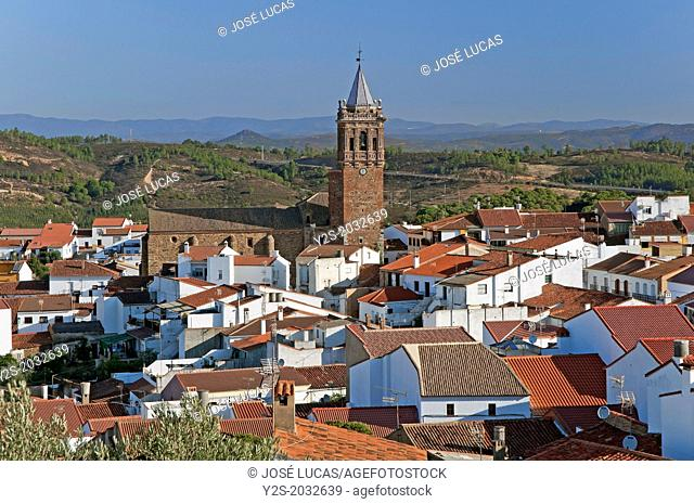 Panoramic view and Church of the Assumption -16th century, Zalamea la Real, Huelva-province, Region of Andalusia, Spain, Europe