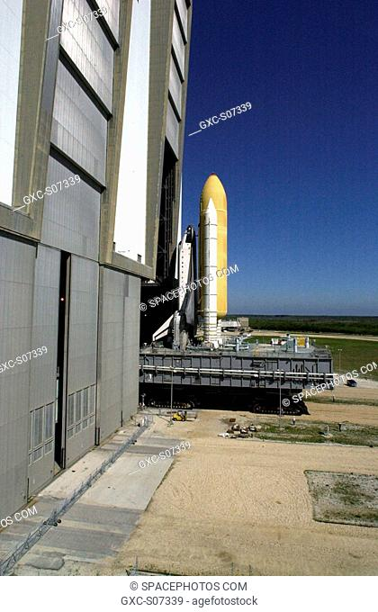 03/22/2001 --- Space Shuttle Endeavour leaves the Vehicle Assembly Building high bay 3 open door atop a Mobile Launcher Platform and begins rolling to Launch...