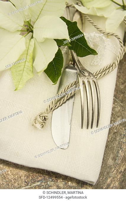 Old silver cutlery with poinsettias and a golden cord