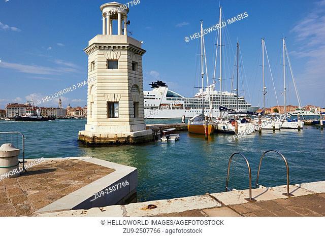 Cruise ship and tug boat between San Giorgio Maggiore island harbour and Venice, Venetian Lagoon, Veneto, Italy, Europe