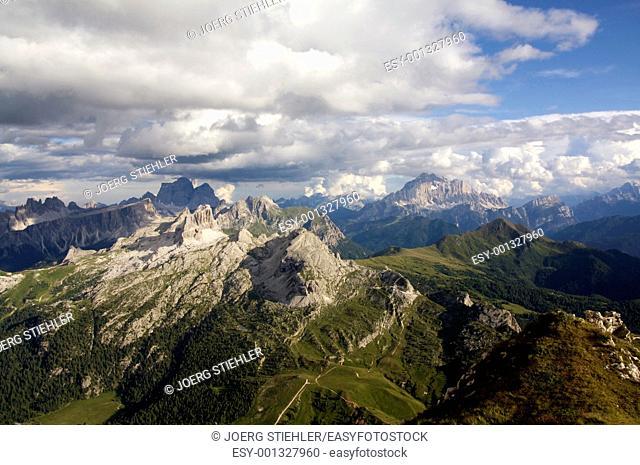 View to Mount Tofana de Rozes, Dolomites, Italy, Alta Via Dolomiti
