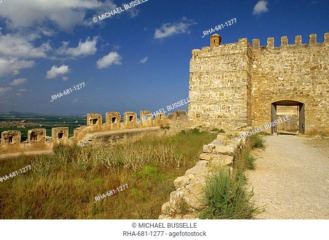 Exterior of the Roman city walls and gateway at Sagunto, Valencia, Spain, Europe