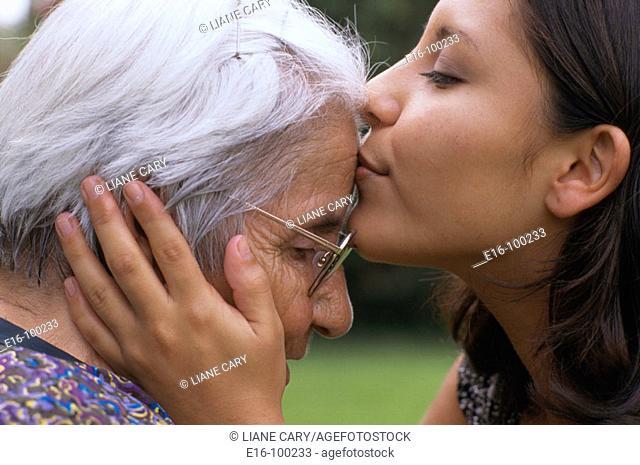 Hispanic grandmother and grandchild