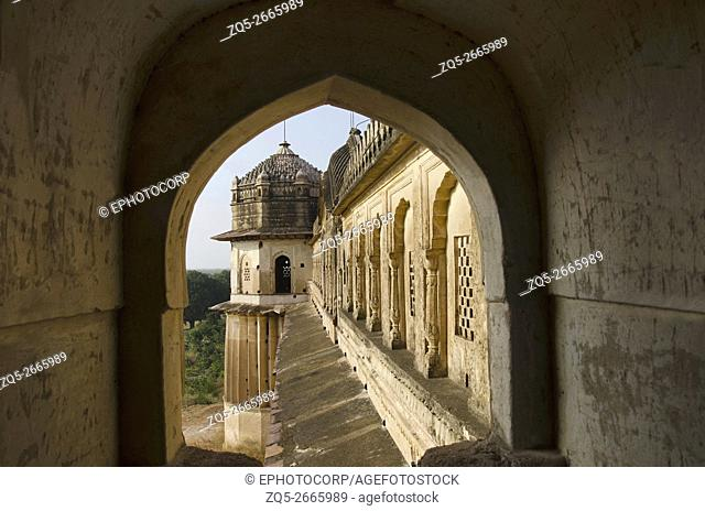 Inner and outer view of Lakshmi Narayan Temple, a mix of a fort and temple moulds. Built in 1622 by Vir Singh Deo, Orchha, Madhya Pradesh, India