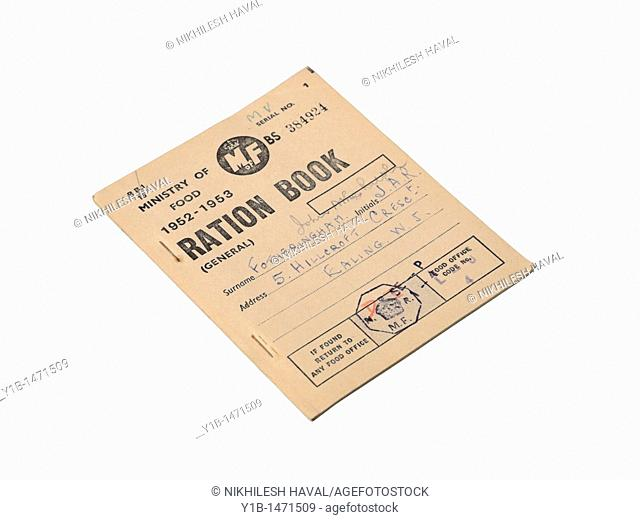 Vintage old British Ration book Food Ministry