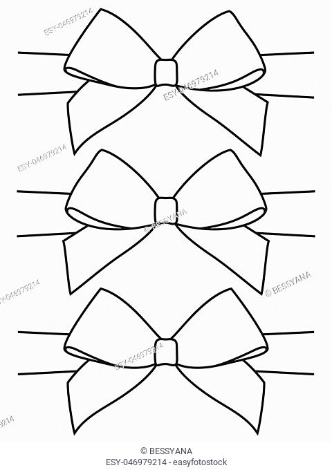 Line art black and white bow set. Coloring book page for adults and kids. Holiday themed vector illustration for icon, logo, sticker, patch, label, sign, badge