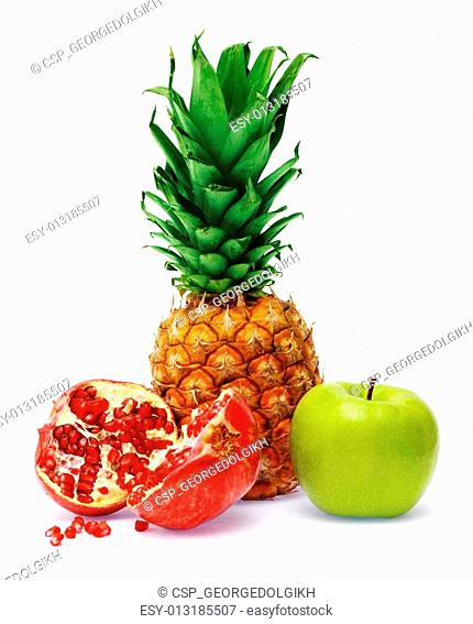 Fresh pineapple, pomegranate and apple