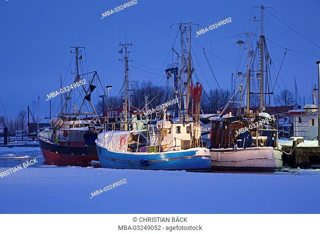 Winter in the harbour, Burgstaaken, Wulfener neck, island Fehmarn, Schleswig - Holstein, North Germany, Germany