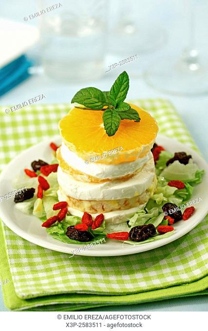 Orange and mozzarella tower