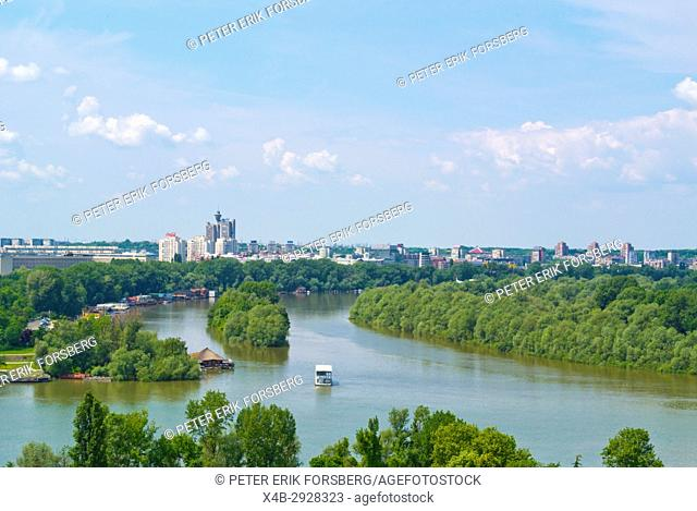 Confluence of Sava and Danube rivers, Belgrade, Serbia