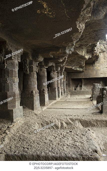 Cave1, View of the porch and area in front, Aurangabad caves, Western Group, Aurangabad, Maharashtra, India