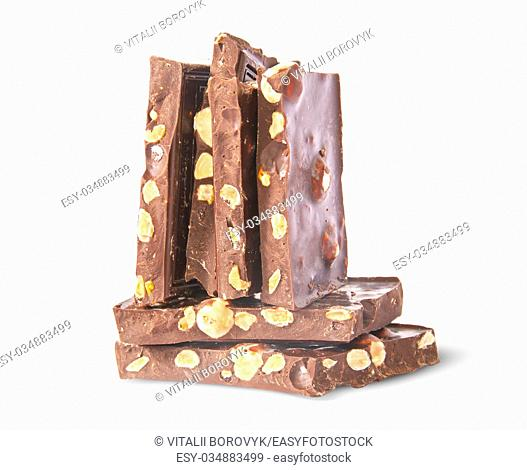 Vertical and horizontal stack of chocolate bars isolated on white background