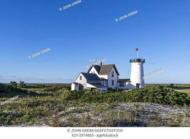 Stage Harbor Lighthouse, Chatham, Cape Cod, Massachusetts, USA. Also known as Harding's Beach Lighthouse