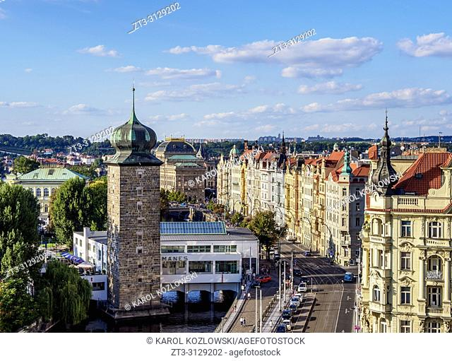 Sitkov Water Tower and Masarykovo Street, elevated view, Nove Mesto, New Town, Prague, Bohemia Region, Czech Republic