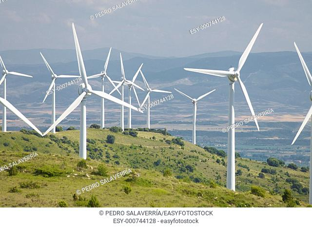many windmills in a hill, Aguilar de Codes, Navarre, Spain