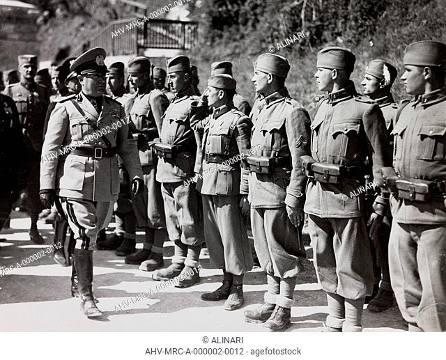 Benito Mussolini controls the troops of the Kingdom of Yugoslavia, shot 1937