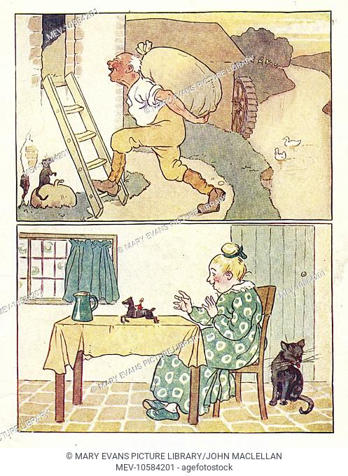 Nursery Rhymes. Above, the Jolly Miller, carrying a sack. Below, a woman sits at a table, watching Tom Thumb riding a tiny horse