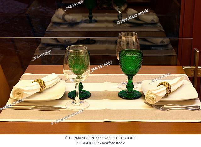 Detail of table set for dinner at a restaurant, Casal São Simão-Portugal