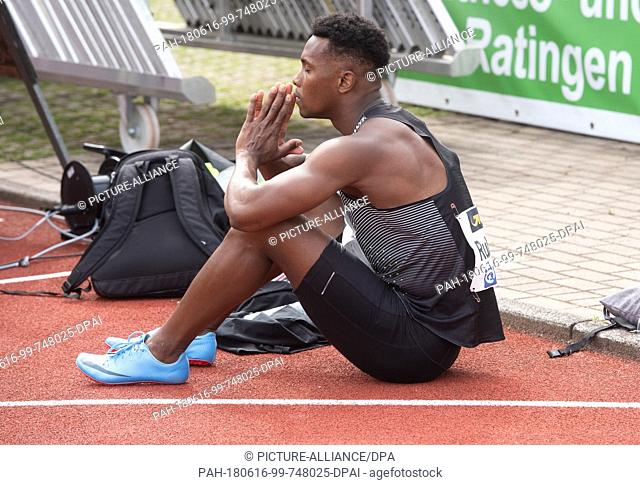 16 June 2018, Germany, Ratingen, Athletics: French decathlon athlet Ruben Gabo sits after being disqualified for a false start in the 100 metres race