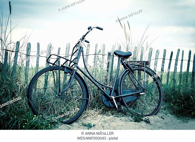 Netherlands, Noordwijk, bike at the beach