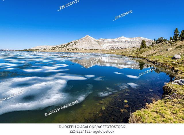 Granite mountain reflecting off of Middle Gaylor Lake. Yosemite National Park, California, United States
