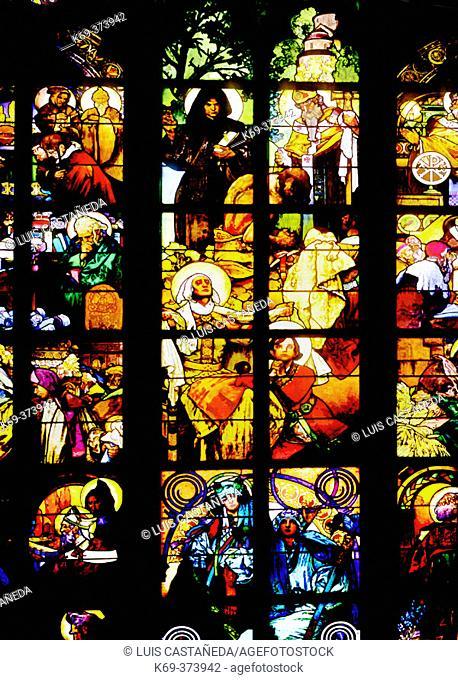 Alfonse Mucha's Glassworks. Saint Vitus Cathedral. Prague. Czech Republic
