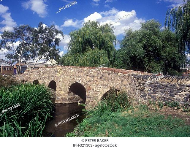 Ancient five arched packhorse bridge crossing the Rothley River at Anstey near Charnwood Forest